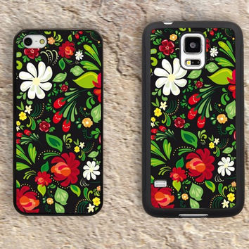 Russian folk art flowers floral Pattern iPhone Case-iPhone 5/5S Case,iPhone 4/4S Case,iPhone 5c Cases,Iphone 6 case,iPhone 6 plus cases,Samsung Galaxy S3/S4/S5-219