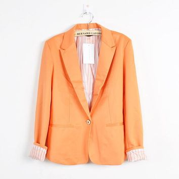 Fashion Jacket Blazer Women Suit Foldable Long Sleeves Lapel Coat Lined With Striped Single Button Blazers Jackets