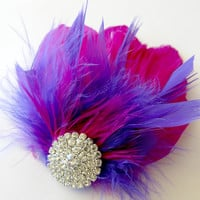 Bridesmaids Hairpiece, Feather Fascinator, Wedding Hairpiece,Pink, Fuschia, Purple, Gatsby Hairclip, 1920s Hairpiece