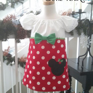 Girls Minnie Mouse Christmas Dress, Red Polka dots, White and Green, boutique style, tunic, toddlers, Custom sizes 12M-5T