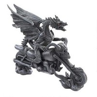 Biker Dragon on Skeleton Chopper Statue - CL52102 - Design Toscano