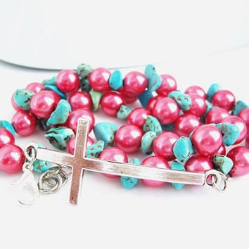 Christian Jewelry, Triple Wrap Bracelet, Pink and Turquoise Beads, Cross Bracelet, Wrap Jewelry, Bohemian Bracelet, Christian Bracelet
