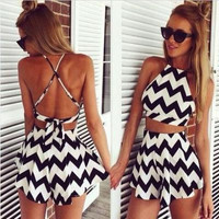 Hot Popular Stripes Printed Backless Spagehetti Strap One Piece Dress  Shorts Trousers Pants _ 1672