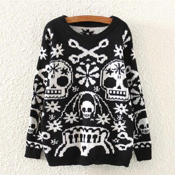 Womens Skull Pattern Knitted Sweater