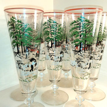 Vintage Mid Century Libbey Currier & Ives Barware Beer Pilsner Glasses  Colonial Times Print Hostess Set