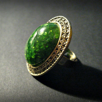Big Bold Bohemian Ring, Hippie, Boho, Statement Ring,Adjustable, Antique Bronze, Green, Grand Opening Sale