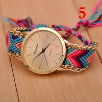 New Geneva Gold Dial Thread Knitted Alloy Chain Women Ladies Bracelet Watch Jewelry #5