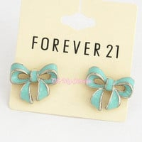 NWOT FOREVER 21 SILVER TONE ENAMEL LACQUERED BOW STUD EARRINGS E2008