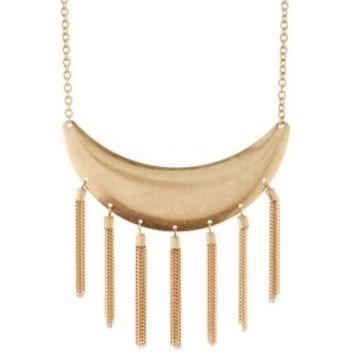 Gold Metal Crescent & Chain Fringe Collar Necklace by Charlotte Russe