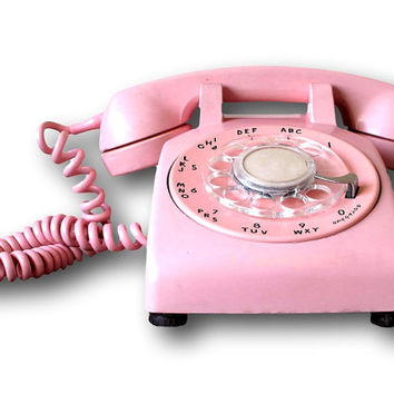 Retro Bubble Gum Pink Rotary Telephone