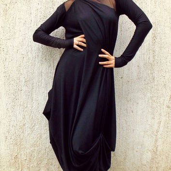 Black Mesh Insert Maxi Dress / Plus Size Black Kaftan TDK87 / FALL WINTER 2014/15