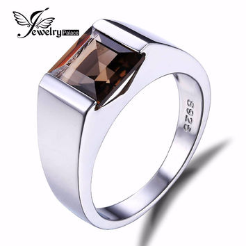 2.3CT Genuine Smoky Quartz Wedding Engagement MAN Ring With Gem Stone For Men jewelry Solid 925 Sterling Sliver charm  ring ring