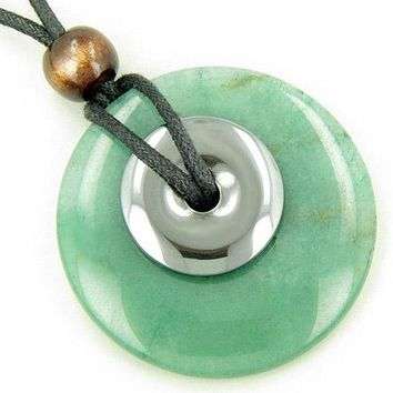 Double Lucky Aventurine and Hematite Large Amulet Gems Necklace