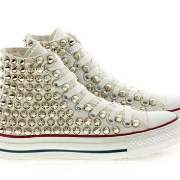 DCCKHD9 Studded White Converse Silver Studs with converse White high top by CUSTOMDUO on ETSY