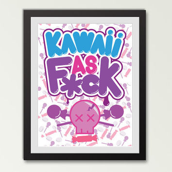 Kawaii poster cute as the F word - loud bubble letter typography print 11 by 14
