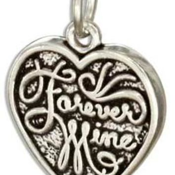 """STERLING SILVER REVERSIBLE """"FOREVER MINE"""" """"FOREVER YOURS"""" HEART CHARM"""