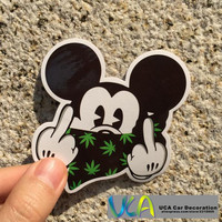 [Mickey Middle Finger] Colored Car Styling Cartoon Waterproof Graffiti Sticker Motorcycle Bike Laptop Skatboard Luggage Decals