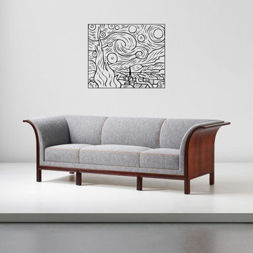 """Wall Art inspired by Van Gogh """"Starry Night"""" vinyl wall decal - removable sticker art decor"""