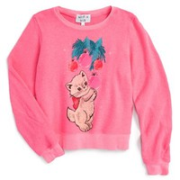 Wildfox 'Baggy Beach - Christmas Kitty' Graphic Sweater (Big Girls) | Nordstrom