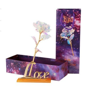 Drop Shipping Valentine's Day Creative Gift 24K Foil Plated Rose Gold Rose Lasts Forever Love Wedding Decor Lover Lighting Rose