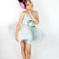 Ballerina Tutu Dress - Girls Grey Party Dress - Flared Feather Tutu Skirt