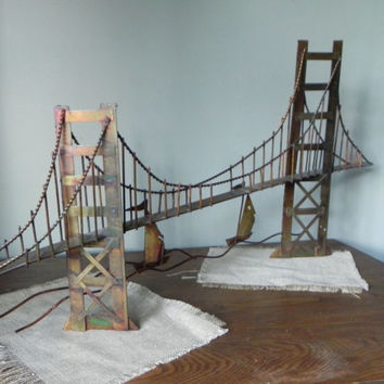 Vintage Golden Gate bridge copper metal wall sculpture with sailboats -