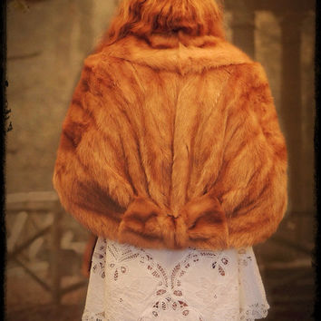 50s large blond mink fur cape stole / vintage body wrap with cute fur bow detail / Cornelius brand a+ quality