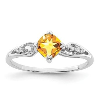 Sterling Silver Diamond And Cushion Cut Citrine November Birthstone Ring