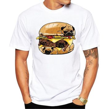 2018 Newest Fashion Printed Design Pugs Burger T Shirt Fashion Men's Hipster Fitness T-shirts Summer Brand Clothing Tops Tees