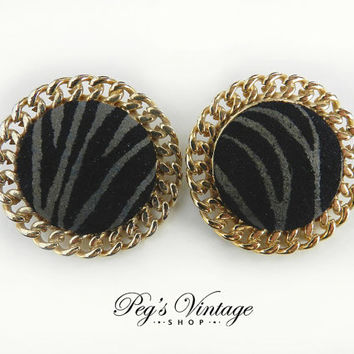 Large Vintage Black Suede/Leather Button Clip Earrings/Gold Tone Suede Earrings