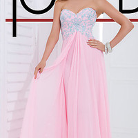 Strapless Light Pink Prom Gown by Tony Bowls