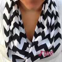 Custom Black and white chevron Infinity scarf, chevron Infinity scarf, loop scarf, bridesmaid monogrammed gift, sorority scarf