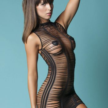 Hauty After Dark Shredded Mini Dress With Seam Detail