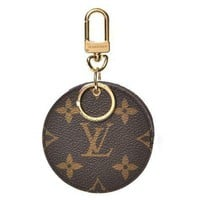 LV Louis Vuitton counter female tide brand fashion leather key case round small key wallet F