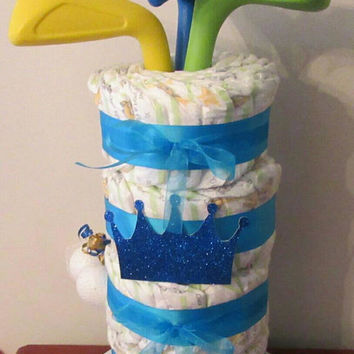 Golf Bag Diaper Cakes , Blue Little Golfer Themed Baby Shower Decor , Table Centerpiece , Creative Golf Baby Gift