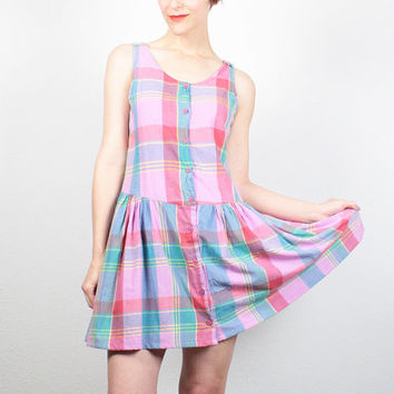 Vintage 80s Dress Drop Waist Sundress 1980s Dress Preppy Mini Dress Skater Dress Pink Plaid Skater Skirt Babydoll Dress S Small M Medium