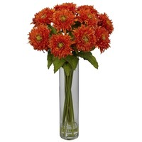 SheilaShrubs.com: Orange Sunflower w/Cylinder Silk Flower Arrangement 1246-OR by Nearly Natural : Artificial Flowers & Plants