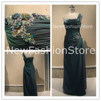 A Line One Shoulder Crystals Beading Floor Length Formal Prom Drss Evening Dress