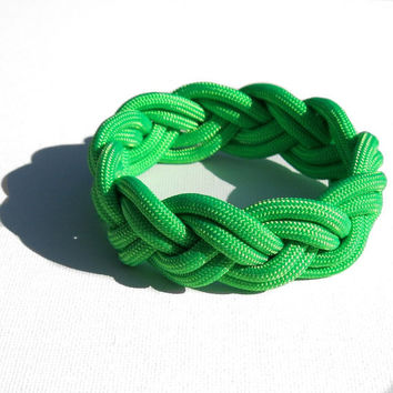 Traditional Turks Head Sailor's Rope Bracelet - Double Braid, Green, Your Choice Size