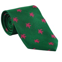 Turtle Necktie - Pink on Green, Woven Silk