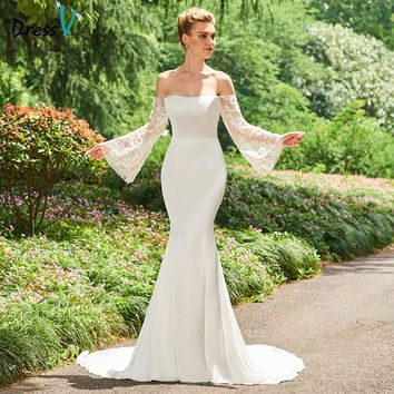 Dressv Off The Shoulder Mermaid Long Wedding Dress Long Sleeves Lace Chapel Train Church Princess Wedding Dresses Custom