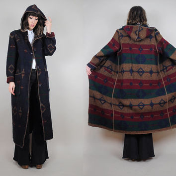 vtg WOOLRICH 80's Southwestern Reversible HOODED striped Wool Maxi duster BLANKET coat • Large