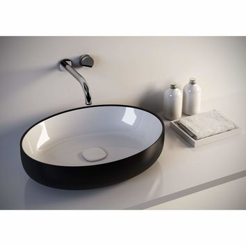 Fosi Oval Ceramic Vessel Sink Bowl Above Counter Sink Lavatory Washbasin