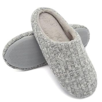 DCCKNY1 Fanture Women's House Slippers Indoor Memory Foam Cashmere Cotton Knitted Autumn Winter Anti-Slip