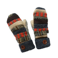 Wool Sweater MITTENS, Recycled wool Mittens, Hippie Boho Patchwork Upcycled Women's Handmade Wisconsin Blue Orange Brown Tan Sweaty Mitts