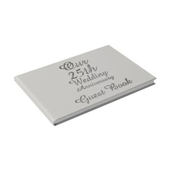 25th Wedding Anniversary Silver Gray Typography Guest Book