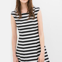 Black and White Cap Sleeve Striped Mini Dress