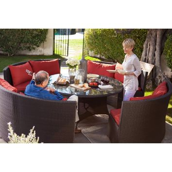 Belham Living Meridian Dining Curved Wicker 2 Seat Bench with Sunbrella Cushion and ... | www.hayneedle.com