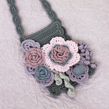Boho purse Pink grey phone case Crossbody smartphone bag with flowers Mom gift Grandma gift Maid of honor gift  Floral accessories
