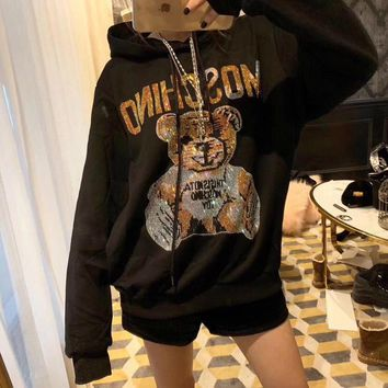 """Moschino"" Women Fashion Rhinestone Cute Cartoon Bear Letter Pattern Long Sleeve Hooded Sweater Pullover Tops"